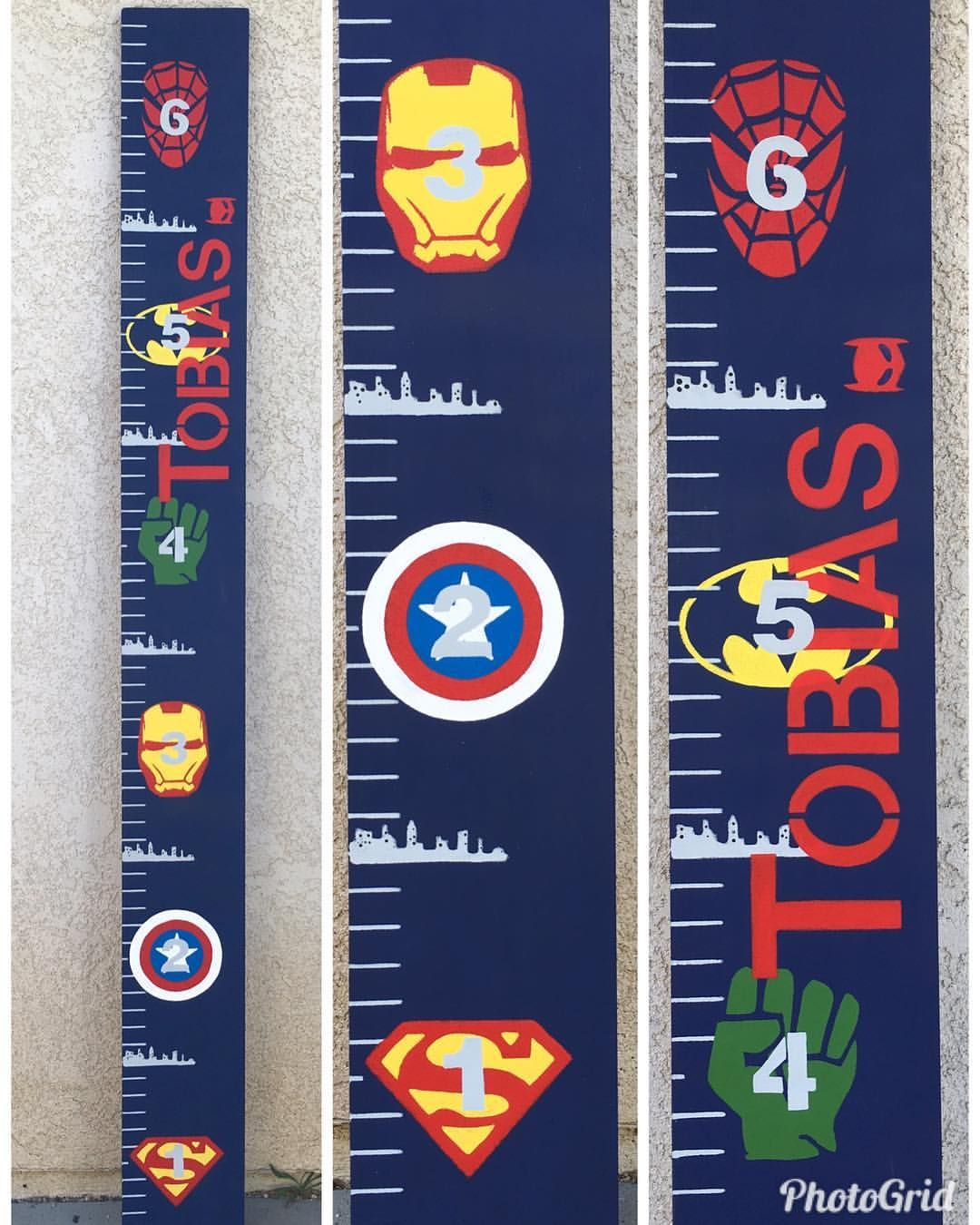 Super hero avengers superman batman growth chart ruler. Measure kids ...