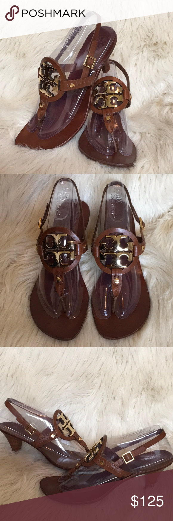 76105a212415 TORY BURCH Holly Brown Leather Logo Sandals EUC 9M TORY BURCH Holly Brown  Milled Leather Logo