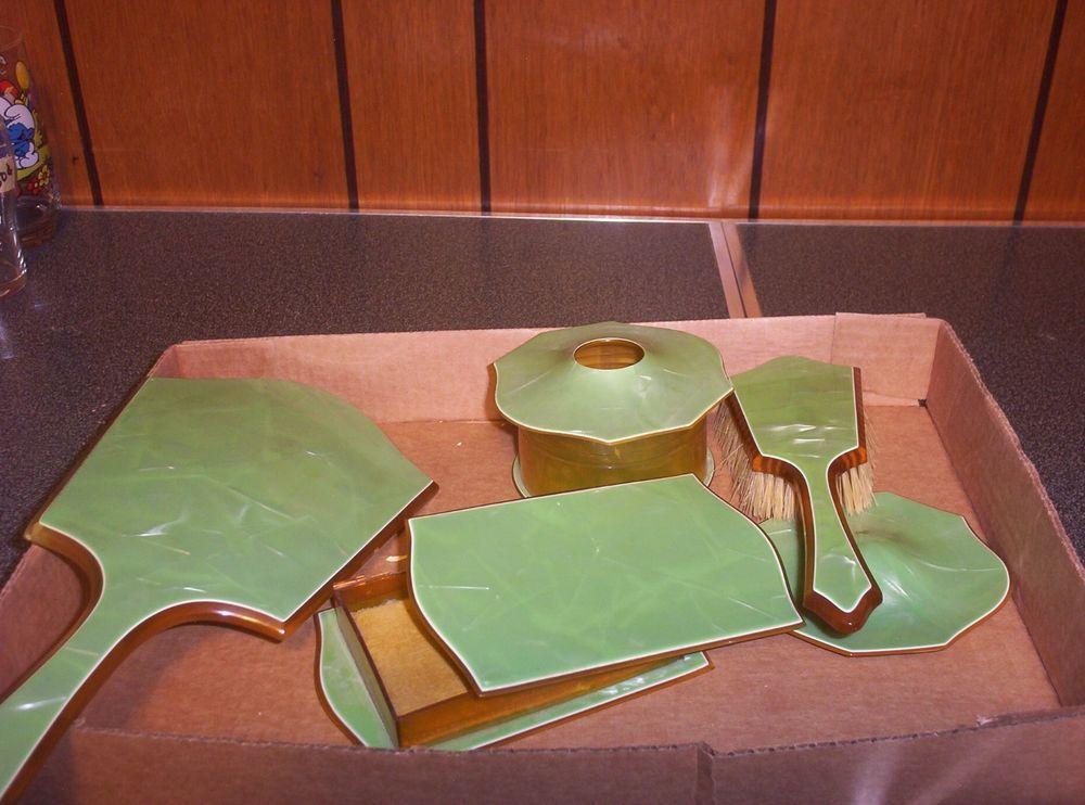 Green Bakelite Dresser Sets