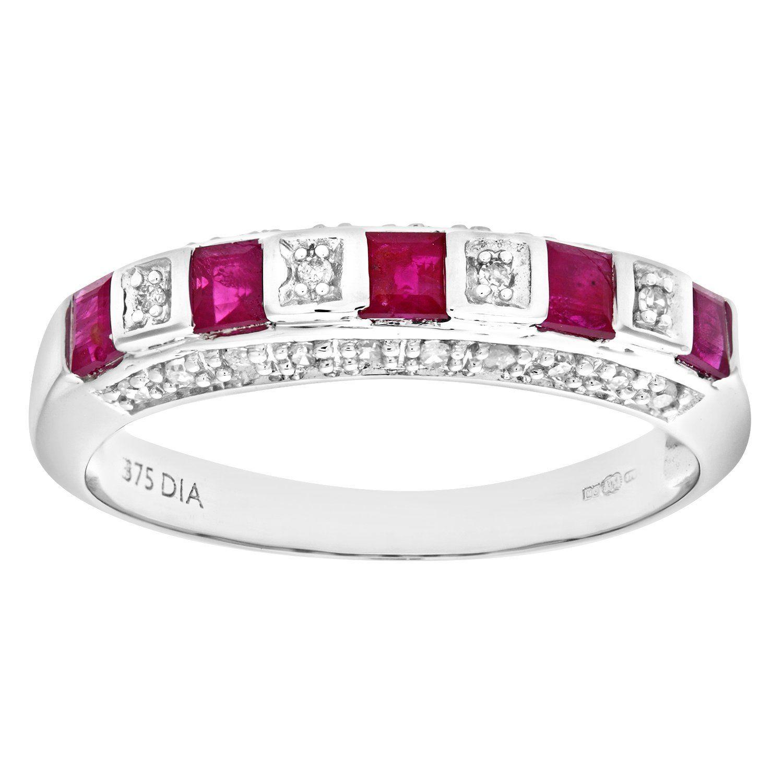 Naava 9ct Yellow Gold Diamond and Red Garnet Eternity Ladies Ring HR5wik