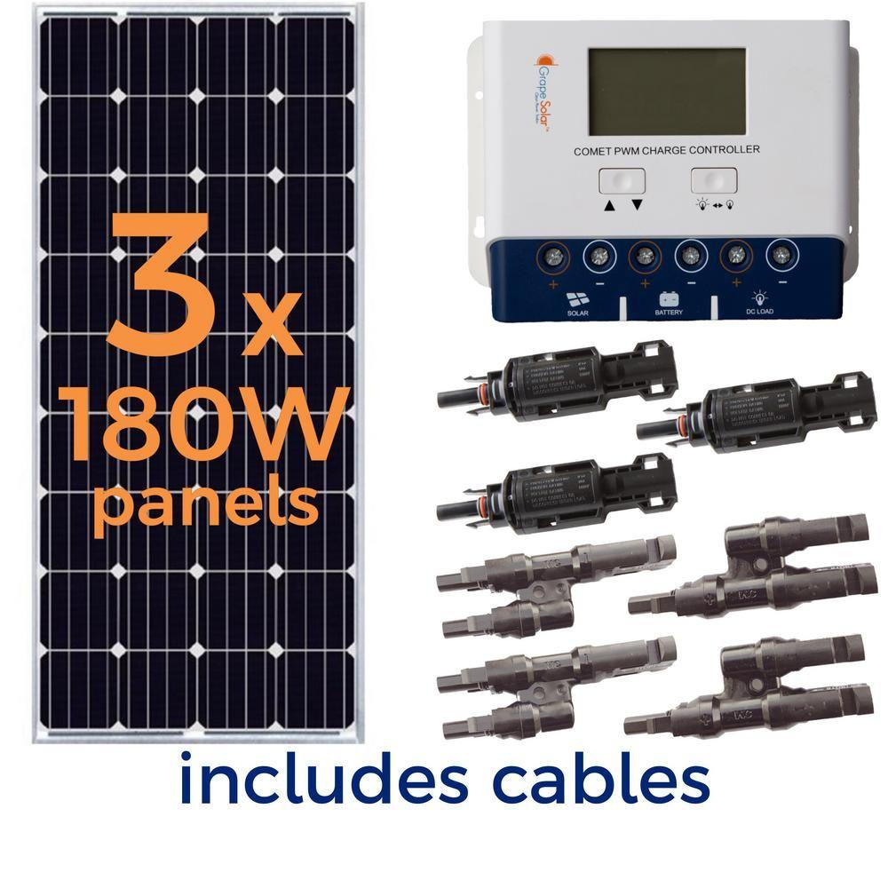 Grape Solar 540 Watt Off Grid Solar Panel Kit Gs 540 Kit Bt The Home Depot Off Grid Solar Panels Solar Panel Kits Solar Energy Panels