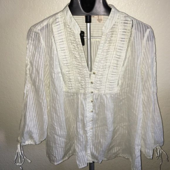 DKNY Jeans spring top Casual Sheer off white top with intricate detail. Will steam wrinkles prior to ship. DKNY Tops