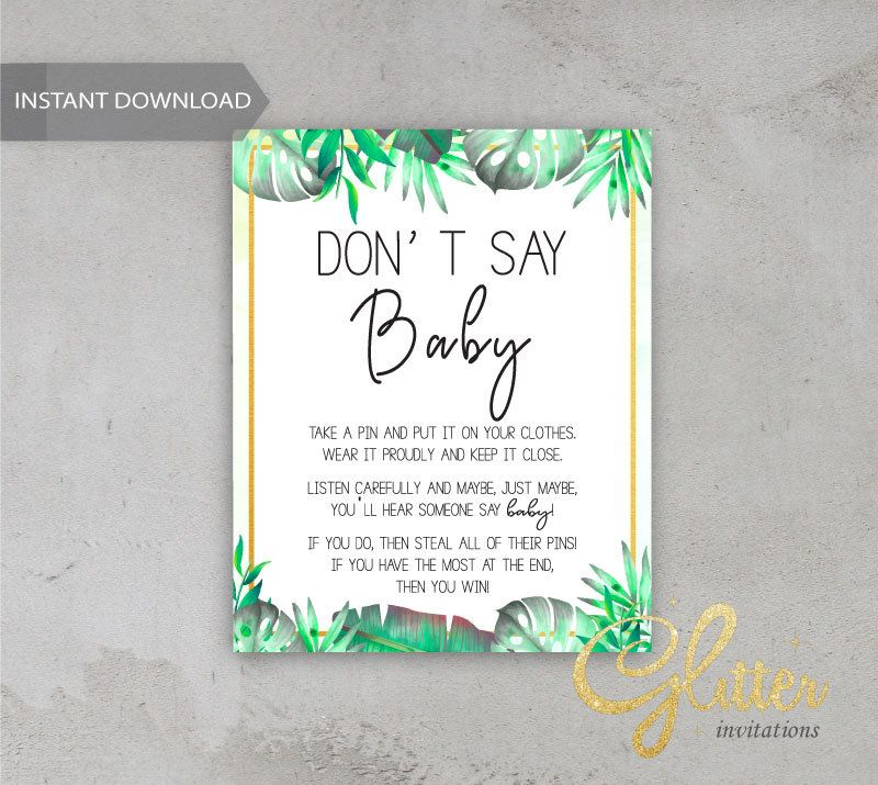 Tropical boy shower, gender reveal shower, Printable Diaper Pin, Clothes Pin Game, Printable girl Dont Say Baby, CY014
