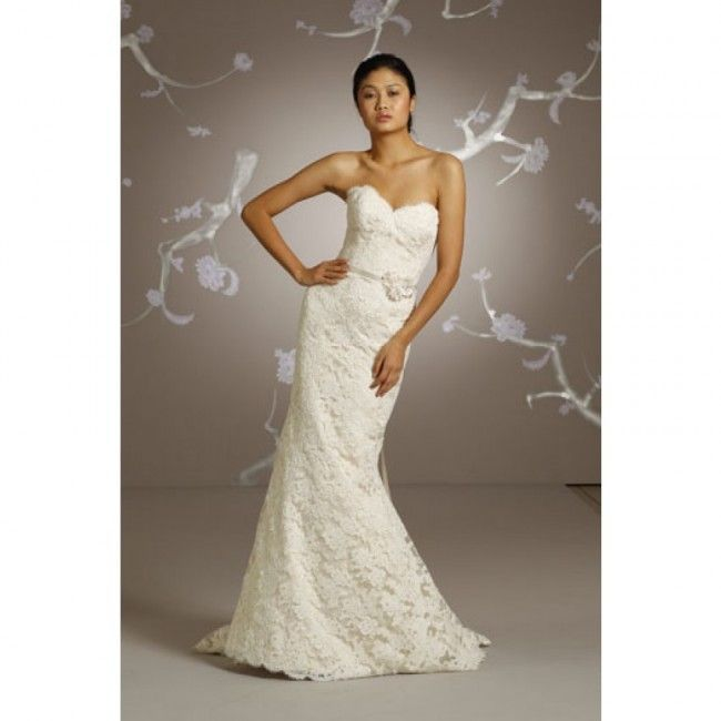 Gorgeous Lace Trumpet/Mermaid Sweetheart Spring Sleeveless Flower Empire Wedding Dresses