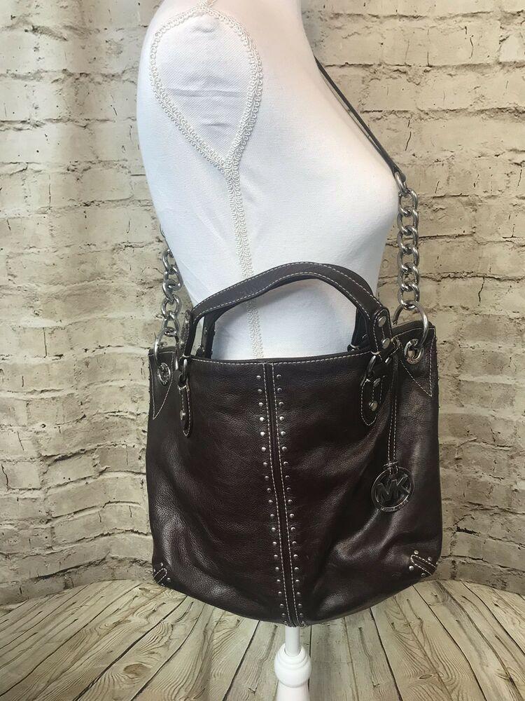6d8f8358e59a17 Michael Kors Leather Astor Studded Shoulder Satchel Bag Purse Dark Brown # MichaelKors #ShoulderBag