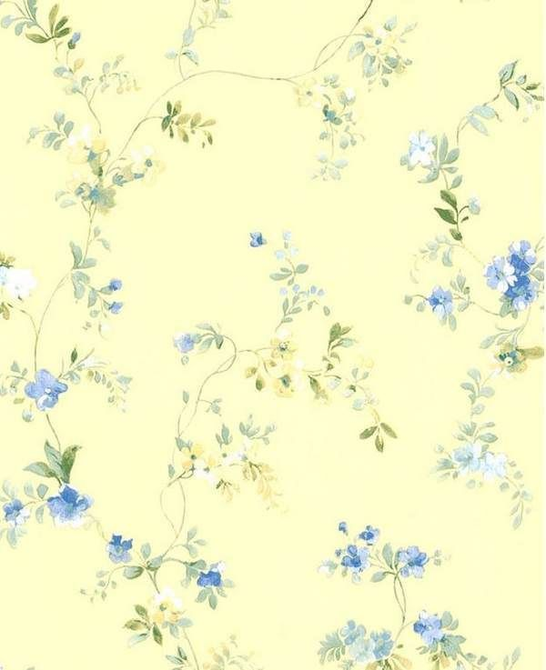 Wallpaper By The Yard Blue On Yellow Country French Floral Trail