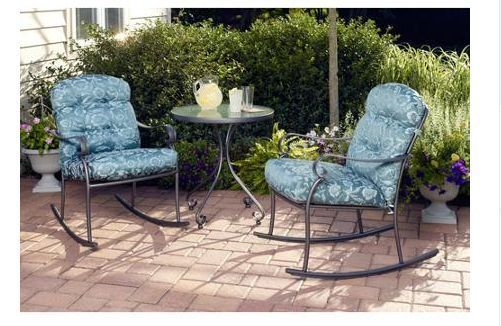 3 Piece Rocking Chairs Bistro Set Blue Outdoor Lawn Garden Patio Furniture New #Mainstays