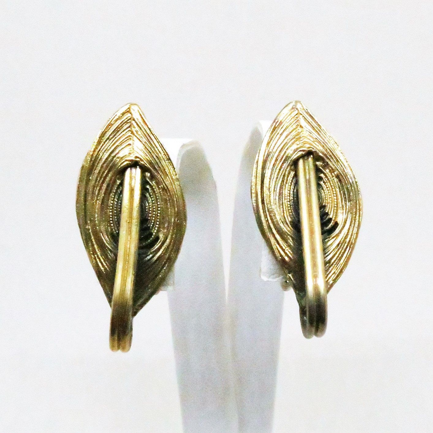 Pewter with Gold Wash Earrings - Vintage, Tortolani Signed, Clip-on Earrings by MyDellaWear on Etsy $20