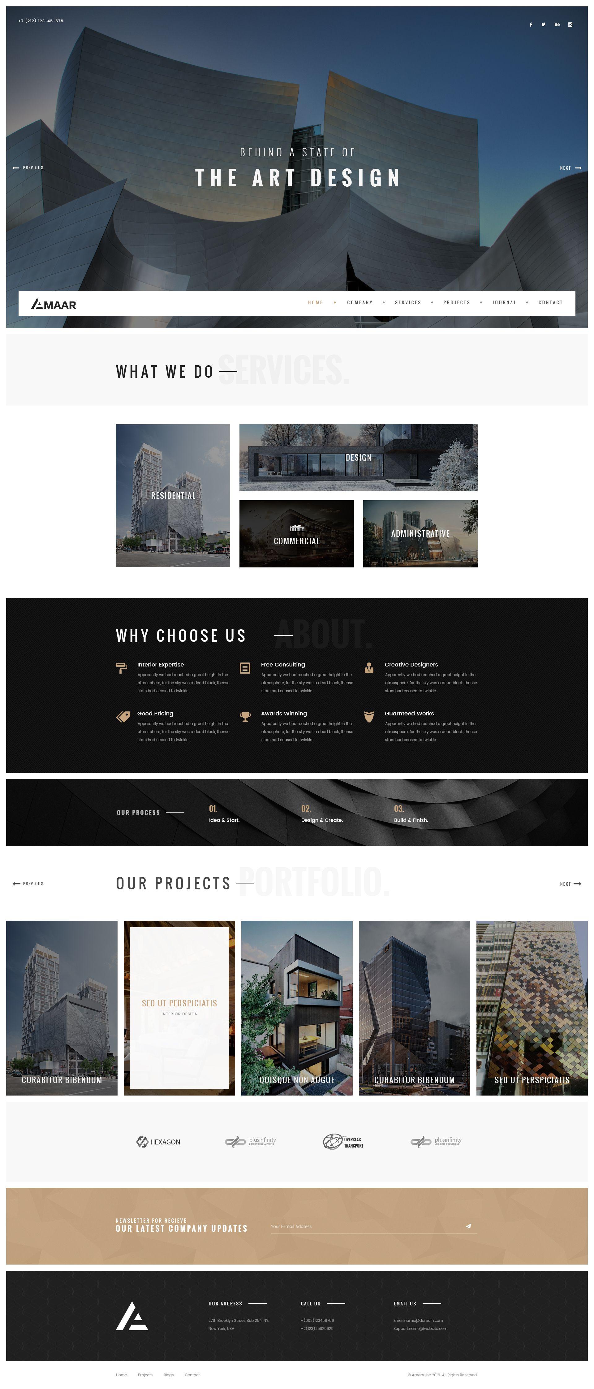 Amaar Creative Architecture & Interior PSD Template 웹