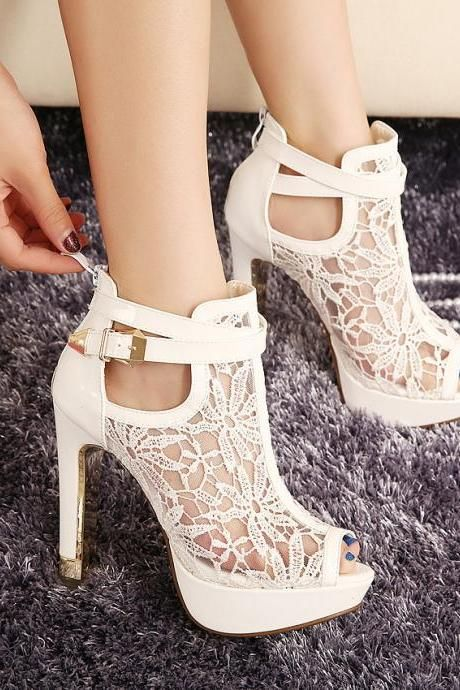 b505b057669e Sexy Mesh Ankle Peep Toe High Heels Sandals | Stuff to buy | Shoes ...