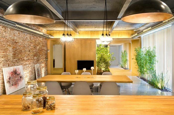 einrichtungsbeispiele raumgestaltung inneneinrichtung ideen inneneinrichter wohnideen loft stil backstein helles holz - Inneneinrichtung Ideen