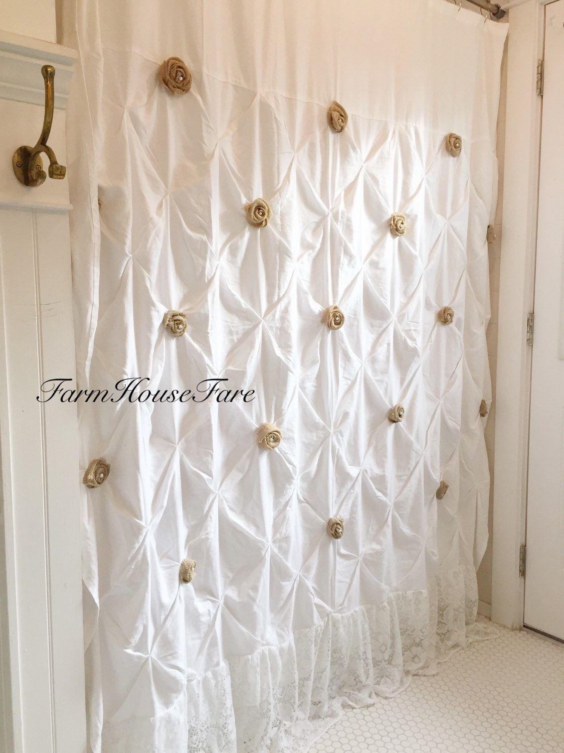 Burlap Ruffle Shower Curtain White Cotton with Handmade Rosettes and ...