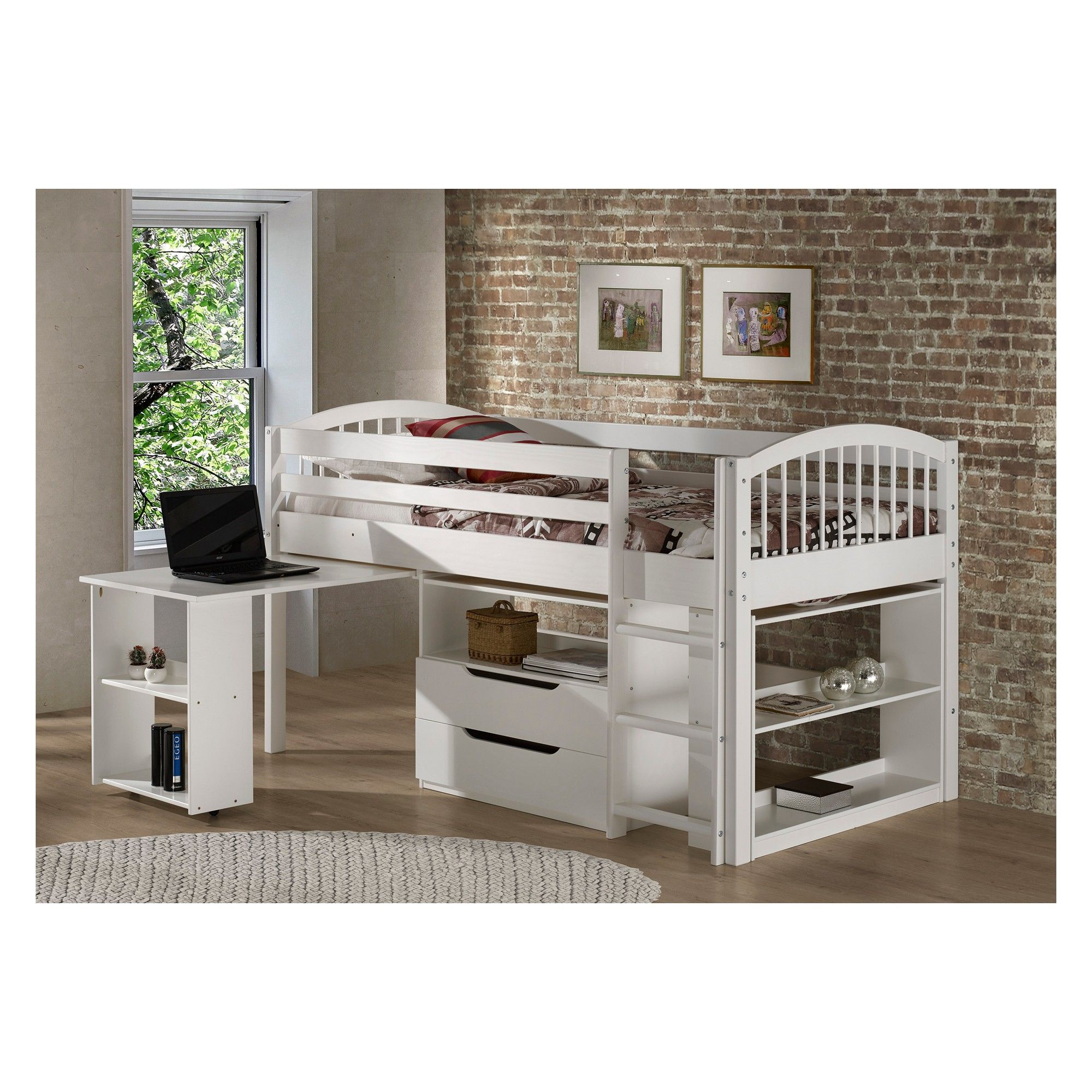 Twin Addison Junior Loft Bed With Storage Drawers Bookshelf And Desk