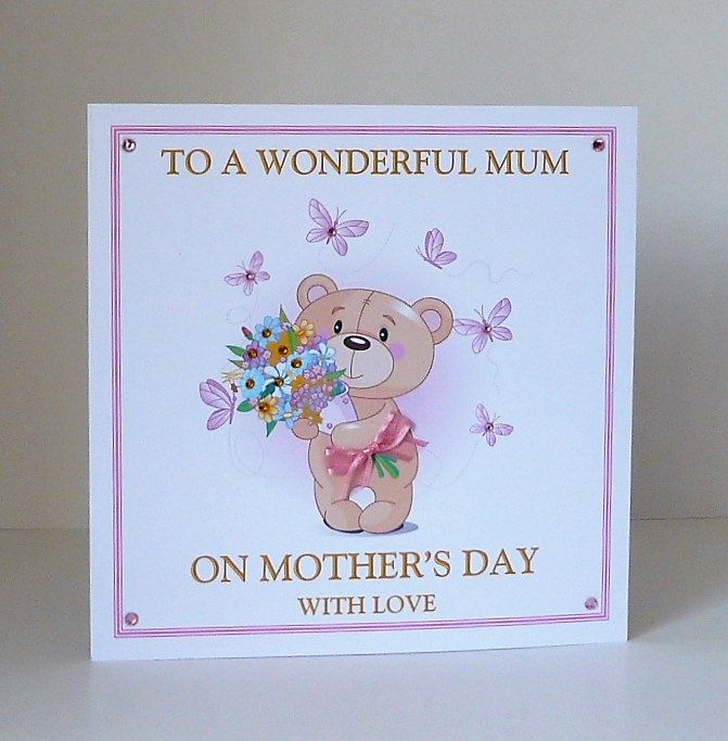 Mothers Day/Mothering Sunday Card Handmade & Personalised for Mum/Mom/Mam etc Large 8x8 Size
