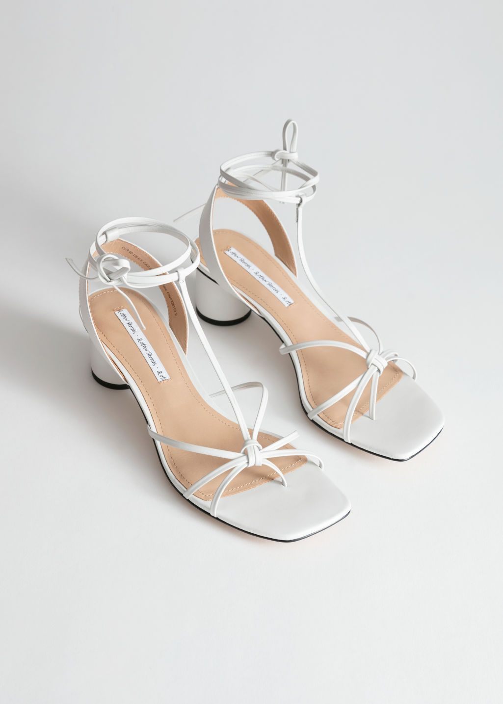 Square Toe Leather Strappy Heeled