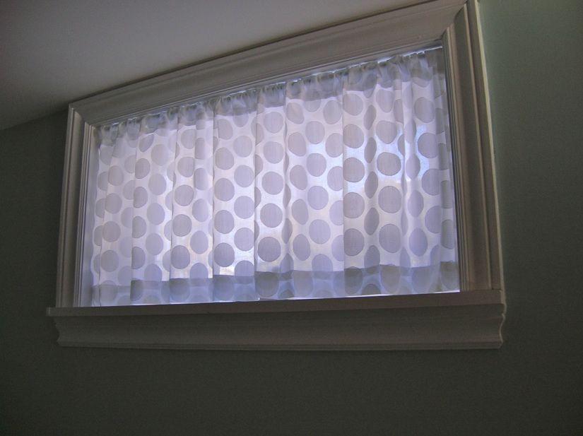 Basement window curtain home decor pinterest for Window coverings for small basement windows