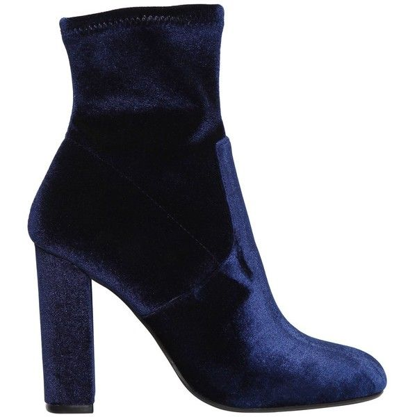 Steve Madden Women 100mm Editt Stretch Velvet Ankle Boots ($135) ❤ liked on Polyvore featuring shoes, boots, ankle booties, navy, short boots, ankle boots, steve madden boots, stretch boots and high heel booties