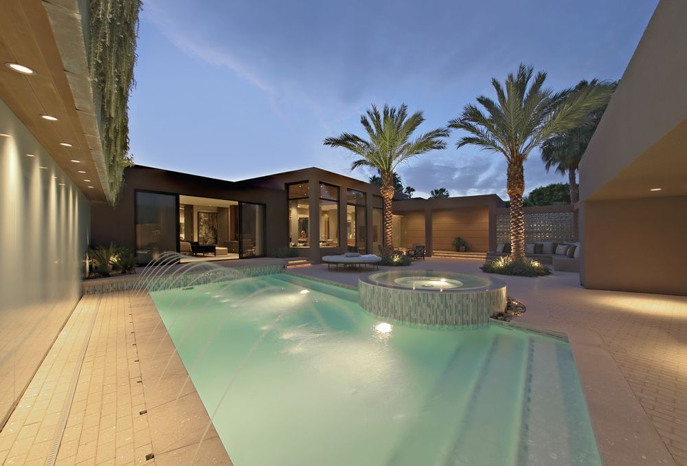 100 spectacular backyard swimming pool designs modern for Courtyard designs with spa