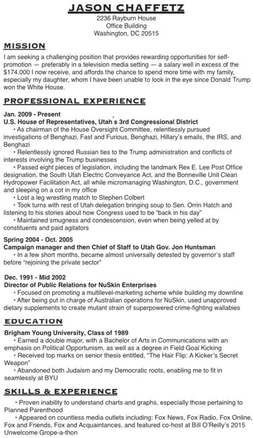 Jason Chaffetz could use this for his resume! Politics  Current