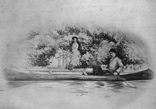 Sir John Glover, governatore di Terranova, e Lady Glover & Il loro cane Fogo in canoe_St John_ c1877-85