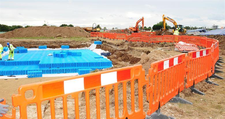Another popular option on job sites, orange safety fencing