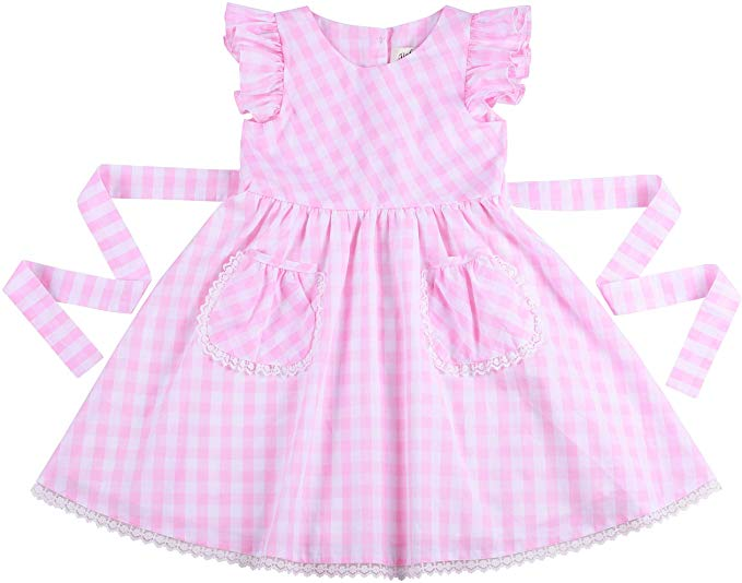 Flofallzique Gingham Casual Girls Dress with Pocket Kids Sundress for 1-12 Y