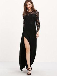 Black Long Sleeve With Lace Split Maxi Dress -SheIn(Sheinside)