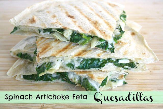Spinach Artichoke Feta Quesadillaszloženie Špenát-veľká hrsť 1artičok  3-4 zelené cibuľky Feta strúhaná mozzarella 4 veľké tortily podľa chuti : údená paprika, bazalka, oregano, atď.