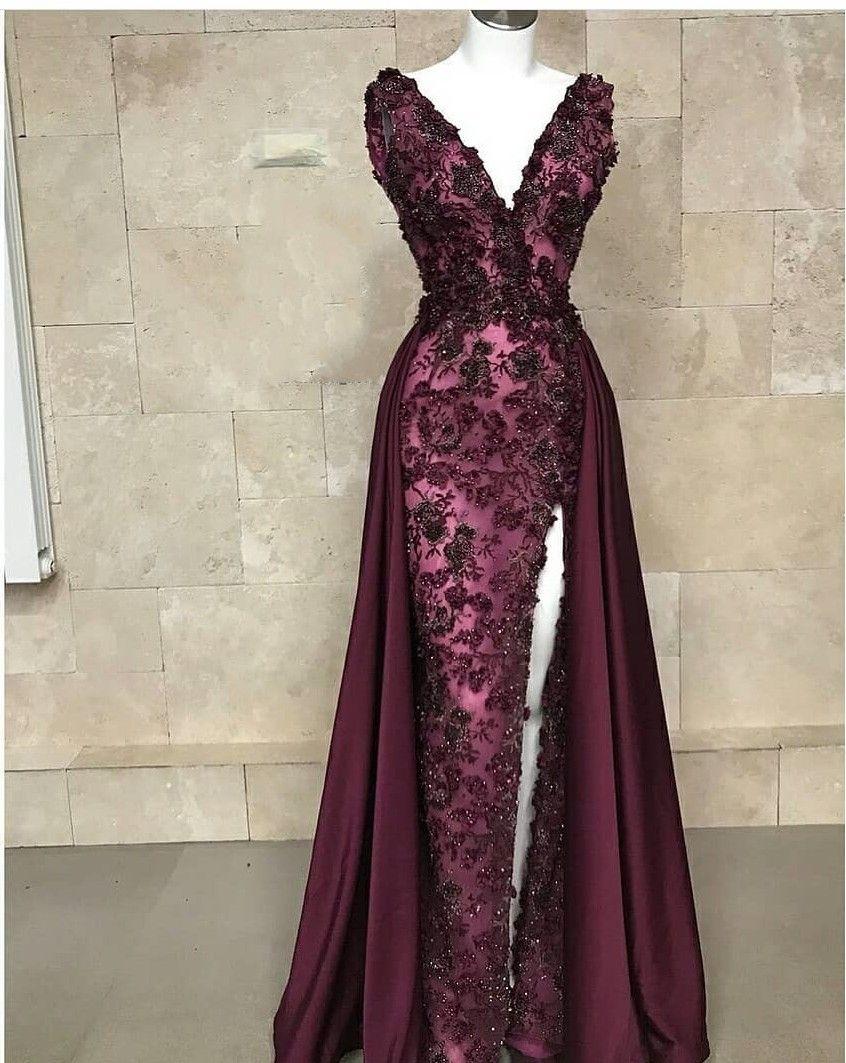 Luxus Abendkleider Weinrot  Spitze Abiballkleider Lang Günstig in