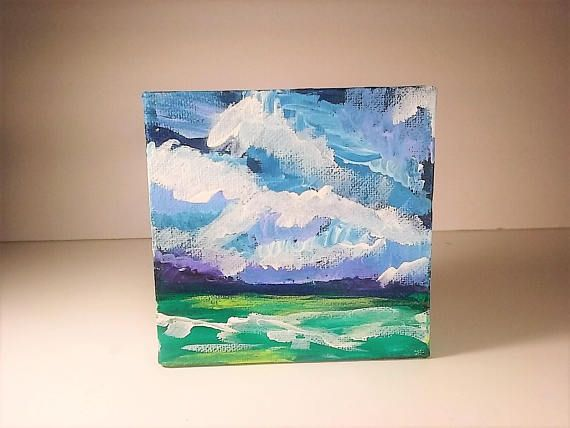 Seascape Art Mini Canvas Painting Kids Playroom Decor Beach Lover Gift Original Artwork