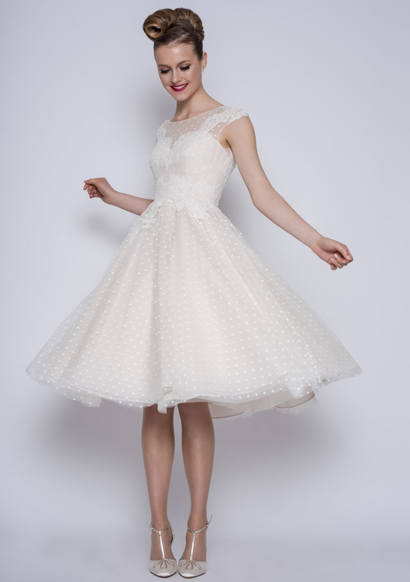 86-Betty - Tea length vintage inspired dotty tulle dress with lace ...