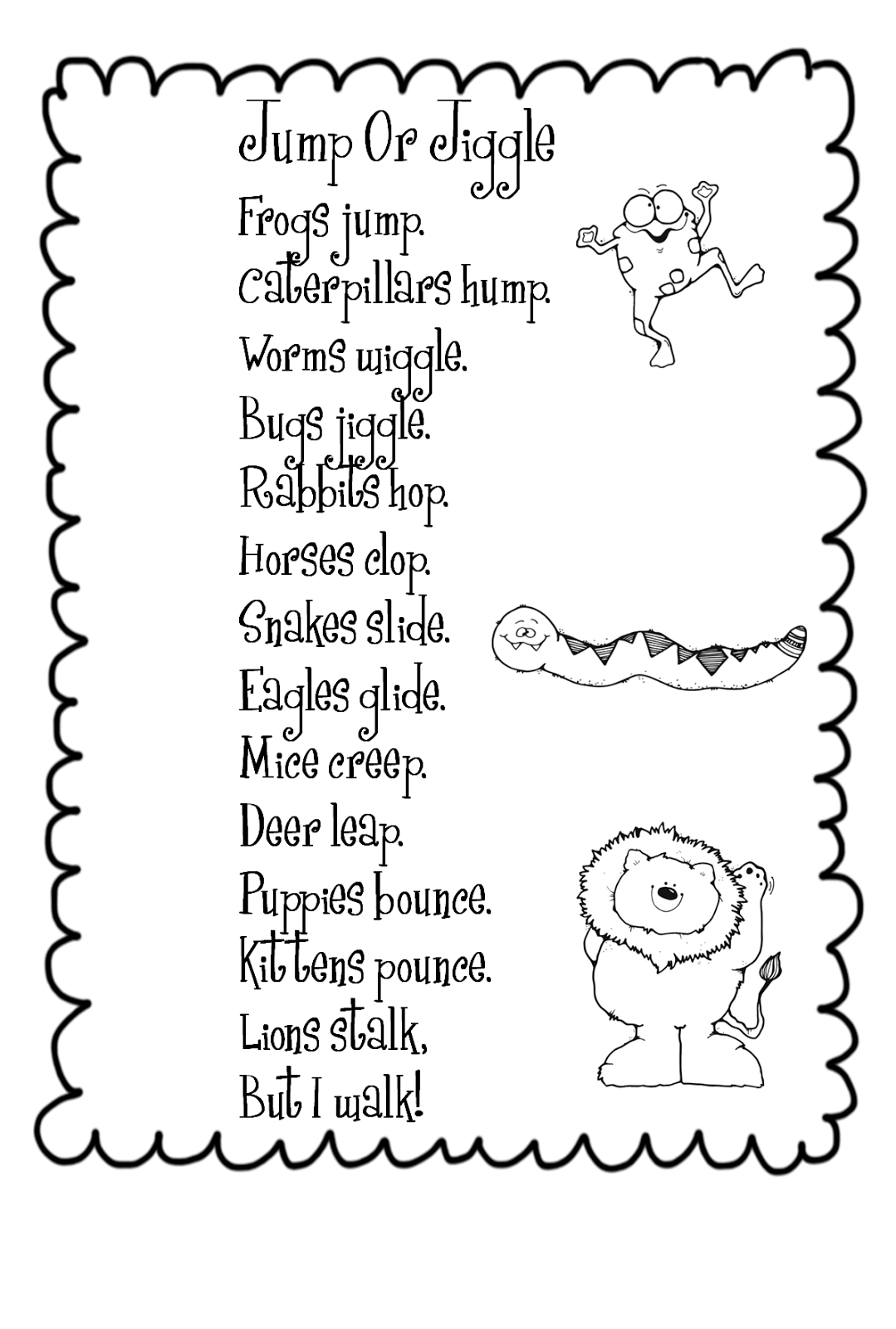 Movements Animals Worksheet For Preschool