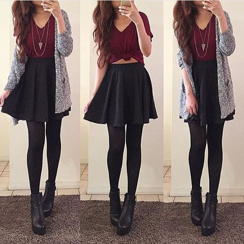 46429ae64d the perfect fall boots tumblr - Google Search Outfits With Skater Skirts