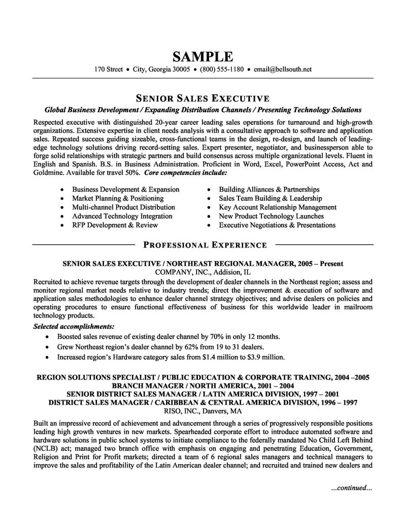 resume senior sales executive 037 http topresume info