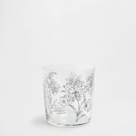 Flowers Detail Glass Tumbler Glassware Glassware Tableware Zara Home United States Zara Home Sala Da Pranzo Bicchieri