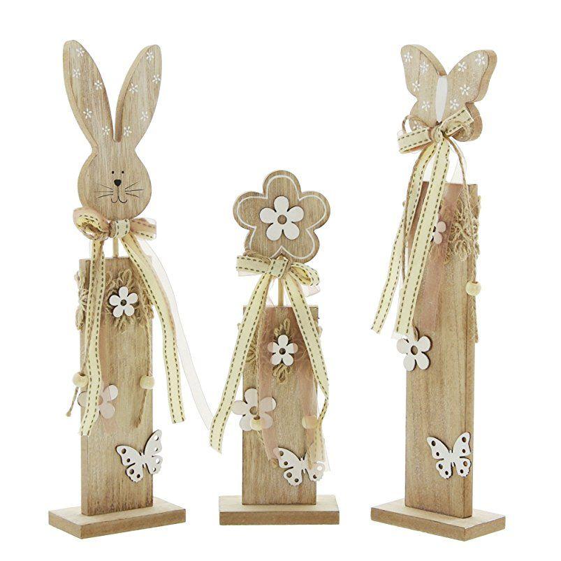 Deko Saule Ostern Im 3er Set Easter Santa Boots Wood Crafts