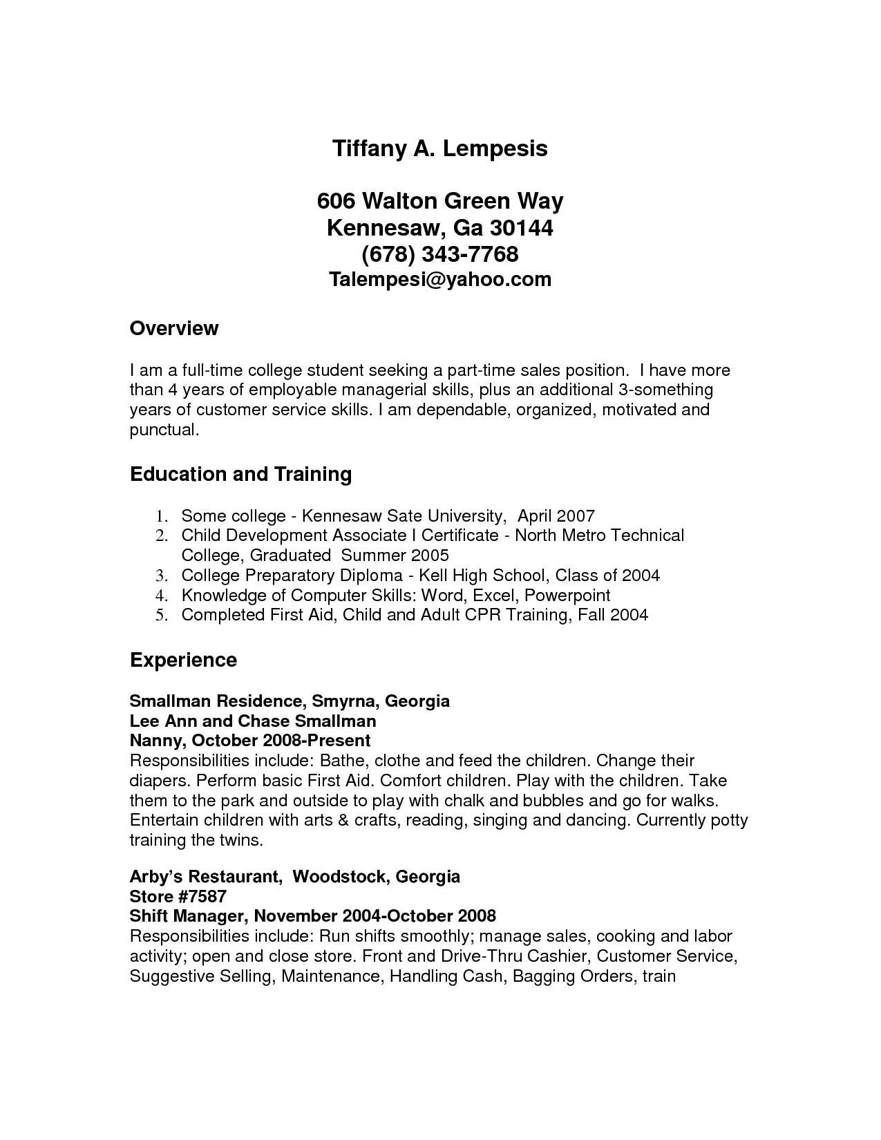 parttime job resume