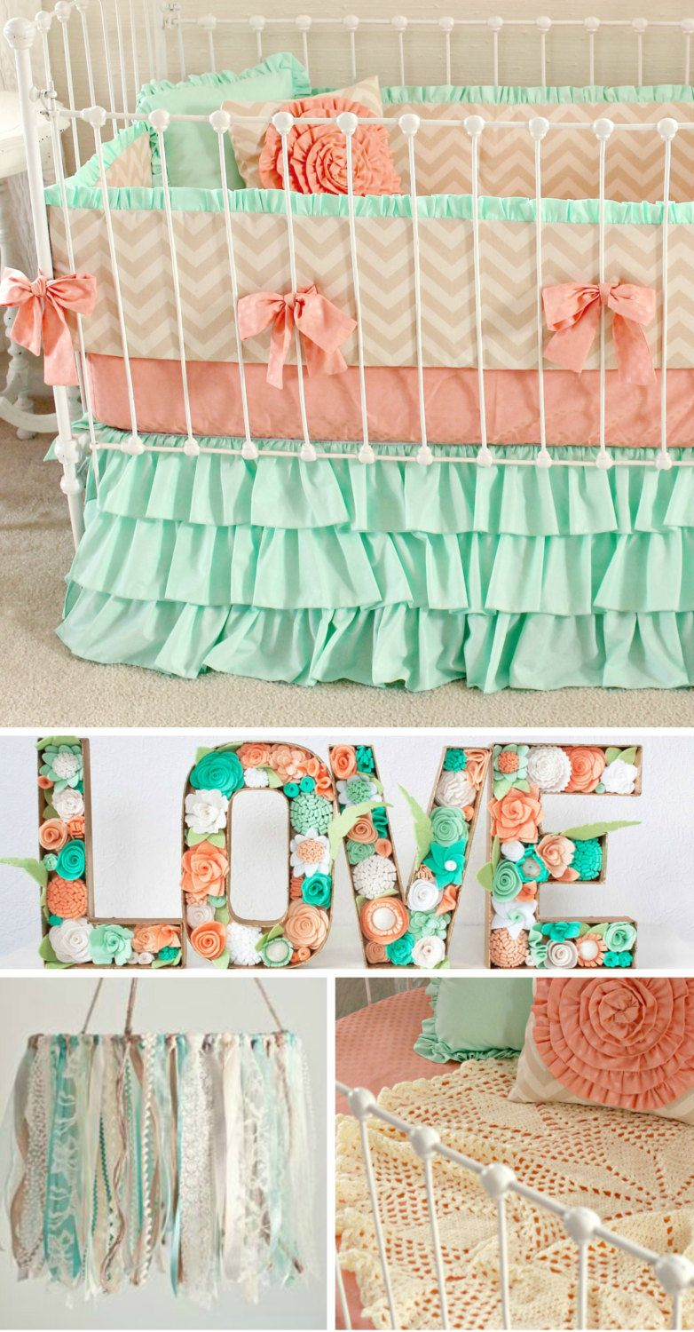 Mint Peach Baby Bedding. Girl Crib Bedding, Baby Girl Bedding, coral ...