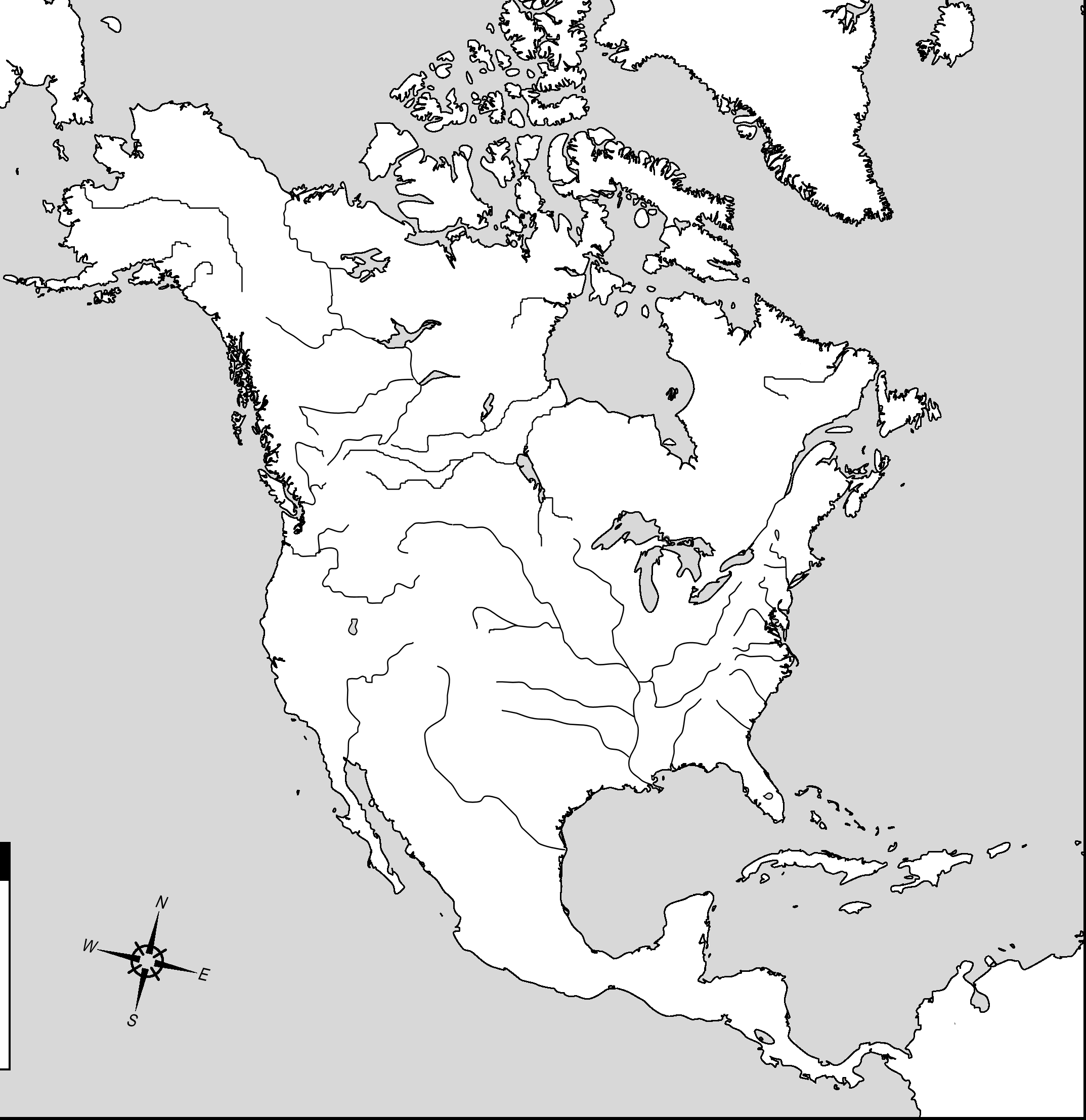 Blank North America Map Google Search Teaching History - North america physical map test