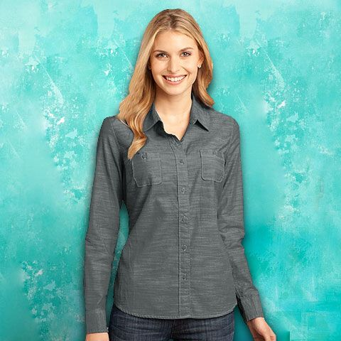 d9c4f16d District Made™-Ladies Long Sleeve Washed Woven Shirt-DM4800 ...