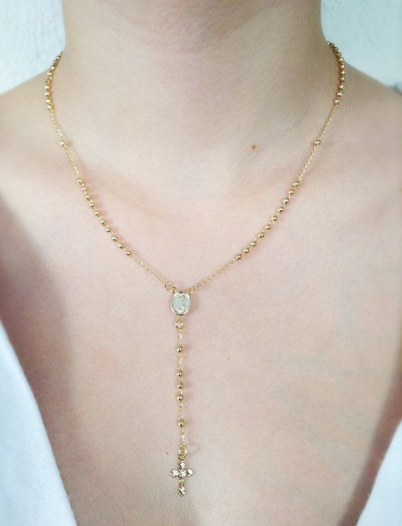 2a56c6da21754 Rosary Necklace Gold, Rosary Necklace Cross, Gold plated Crucifix ...