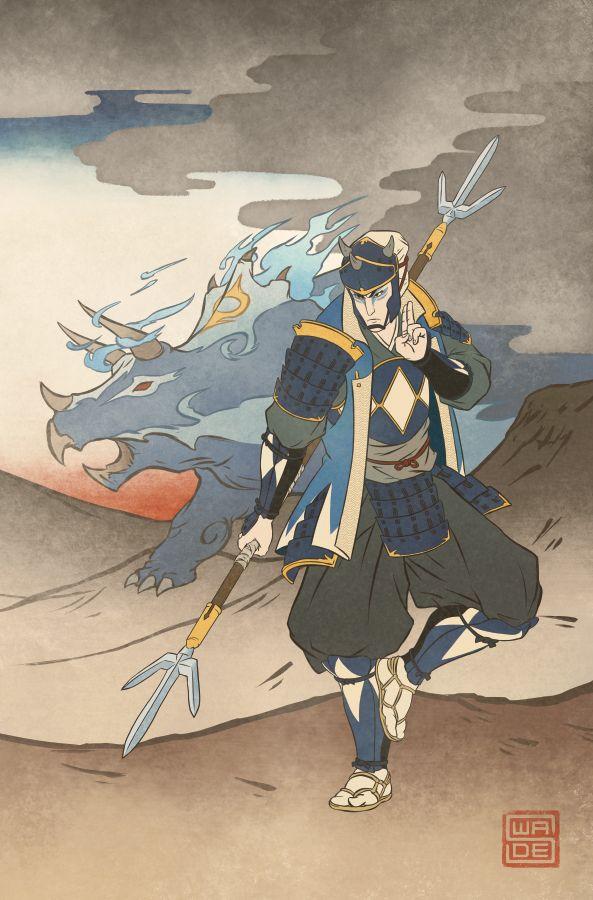 Ukiyo-e Blue Ranger - MMPR Comic Variant Cover by swadeart ...