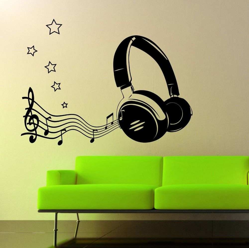 Modern Fashion Headphone Music Notes Wall Art Sticker Home Decor ...