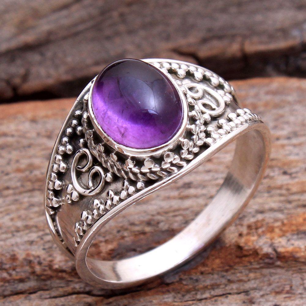 Gemstone Ring Gift Ring Fashion Ring Designer Ring Beautiful Natural PURPLE AMETHYST Ring 925 Sterling Silver All Size Women/'s Ring
