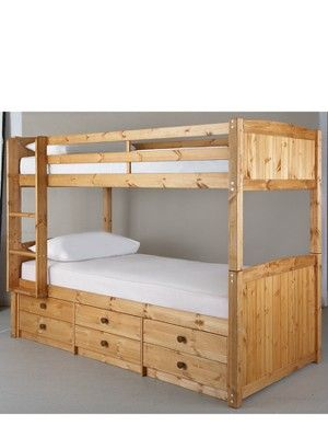 Kidspace Georgie Solid Pine Bunk Bed Frame With Storage Bed Frames