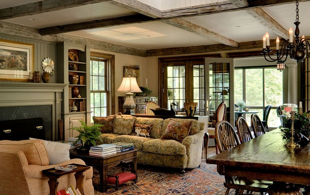 Innovative Anaglypta In Family Room Traditional With Green And Cream Colors  Next To Living Room Dining Table Alongside Barnwood Furniture And Beam  Ceiling