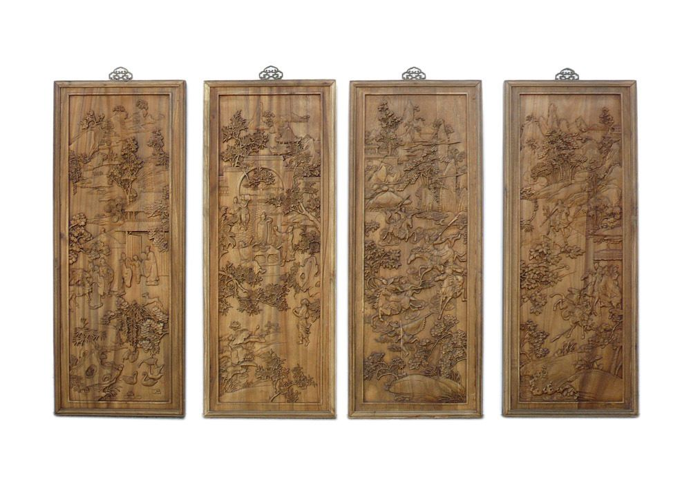 "Chinese "" Romance of the Three Kingdoms "" Scenery Carving Wall Panel Set cs742"