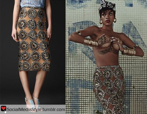 Buy Rihanna's Vogue Brasil Gem Embroidered Pencil Skirt, here ...