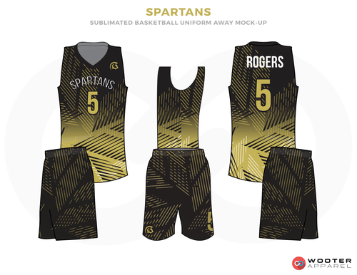 c83b07091544 SPARTANS Golden Black and White Basketball Uniforms