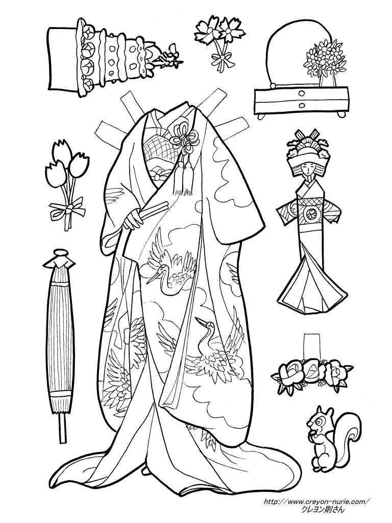 花嫁衣装の紙人形の塗り絵の下絵、画像 | japanese paper doll 着せ替え